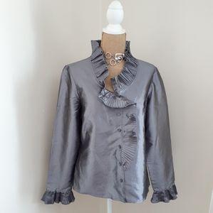 Vintage Agora Silver Sheen Ruffled Blouse